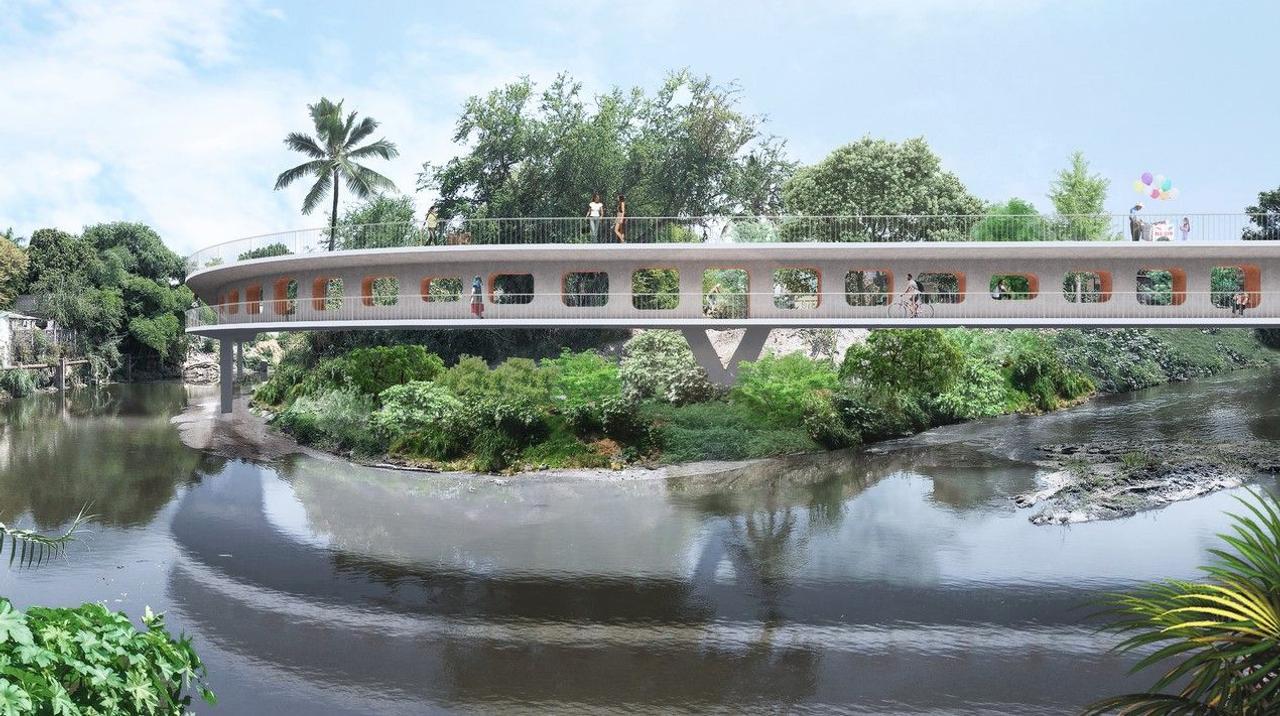 Конструкция пешеходного моста Jojutla Pedestrian Bridge сможет предотвратить наводнения и другие стихийные бедствия