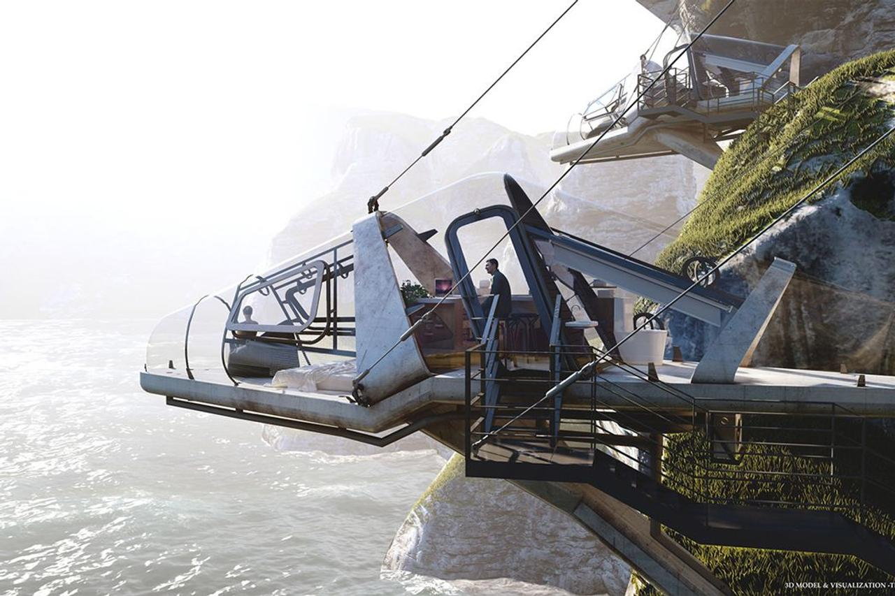 Футуристические хижины Liyanage, свешиваются с отвесных скал и похожи на кабины реактивных самолетов