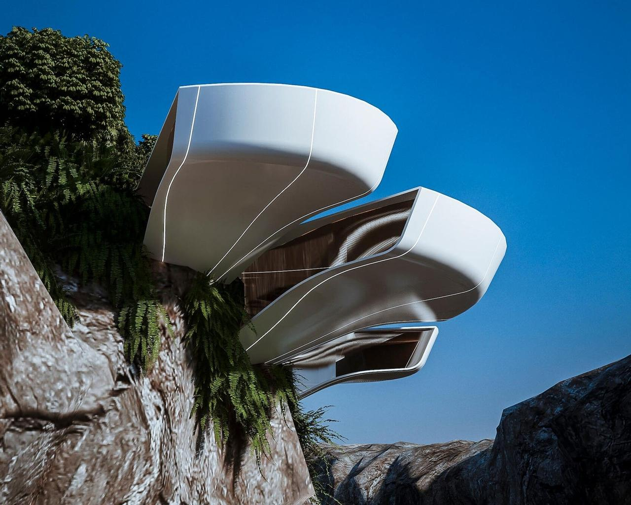 Футуристический дом-цветок Nelumbo, расцвел среди скал