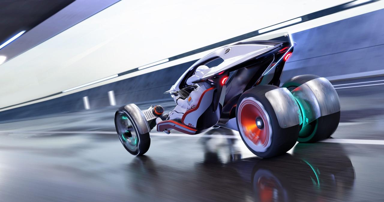 SAIC Design представил футуристический, электрический гибрид мотоцикла и автомобиля