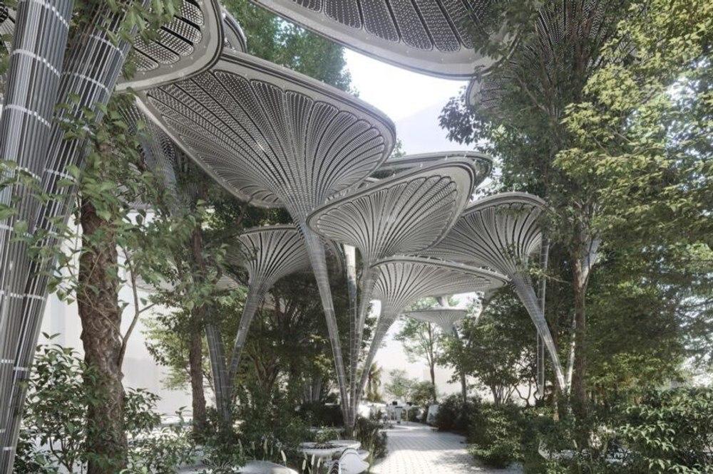 """Чтобы охладить Абу-Даби архитекторы представили """"пышный Oasys"""" на солнечных батареях"""