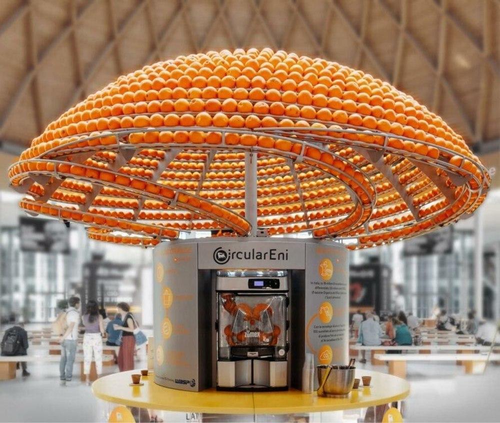 Инновационная соковыжималка для апельсинов позволяет печатать чашки из остатков апельсиновой корки