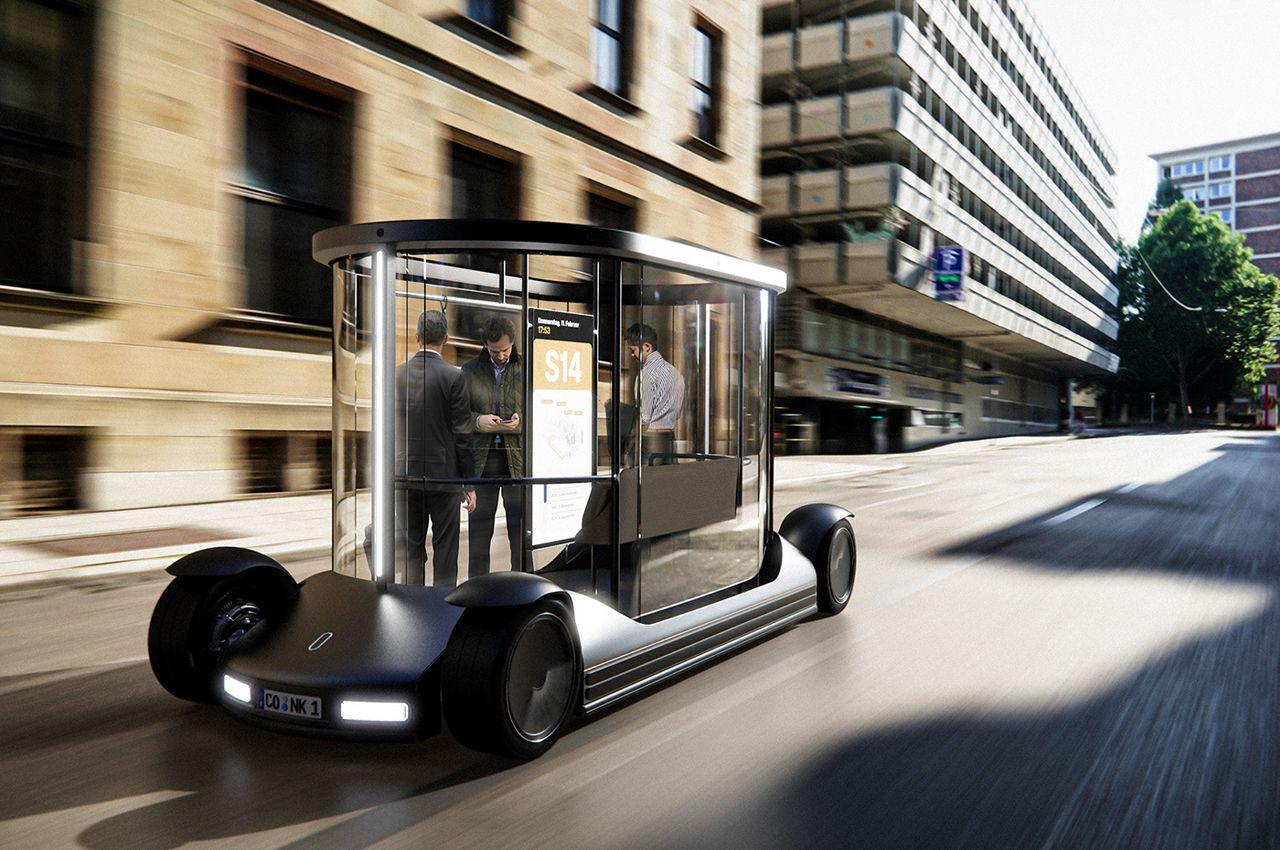 Прозрачный и автономный футуристический маршрутный автобус для комфортных поездок по городу