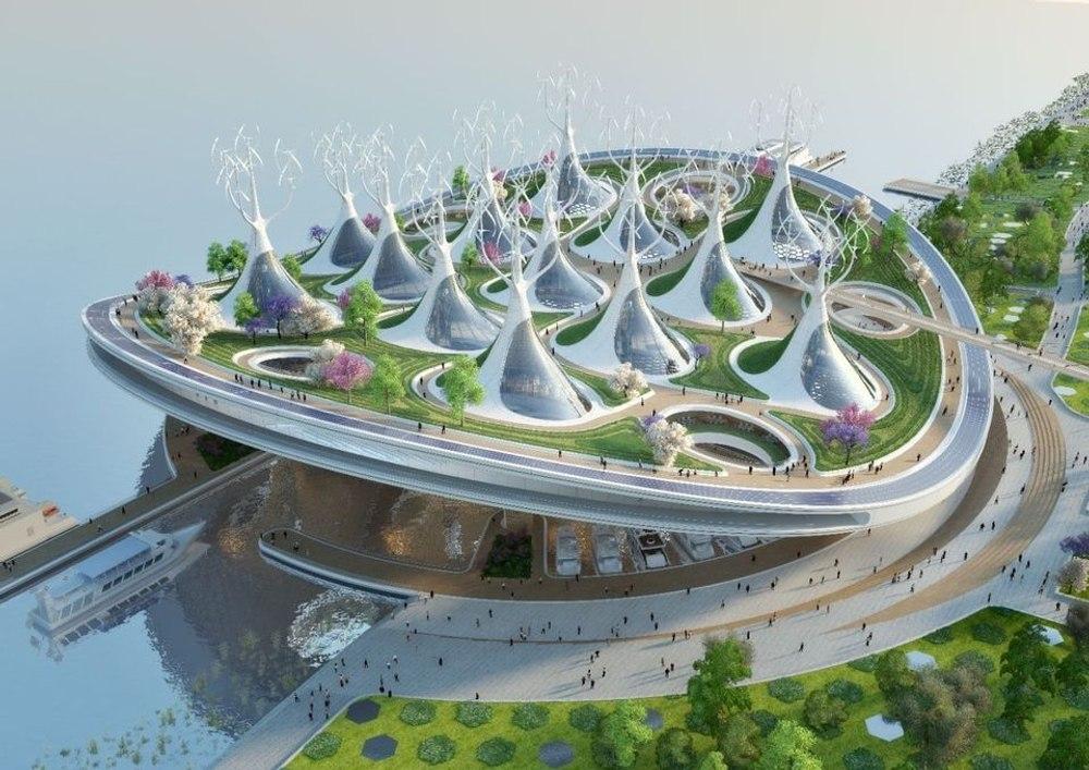 Экологичный паромный терминал Manta Ray в форме ската манта