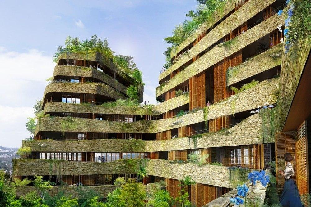 Уникальный энргоэффективный проект Aquarela, покрыт зеленью и перекликается с суровым горным ландшафтом