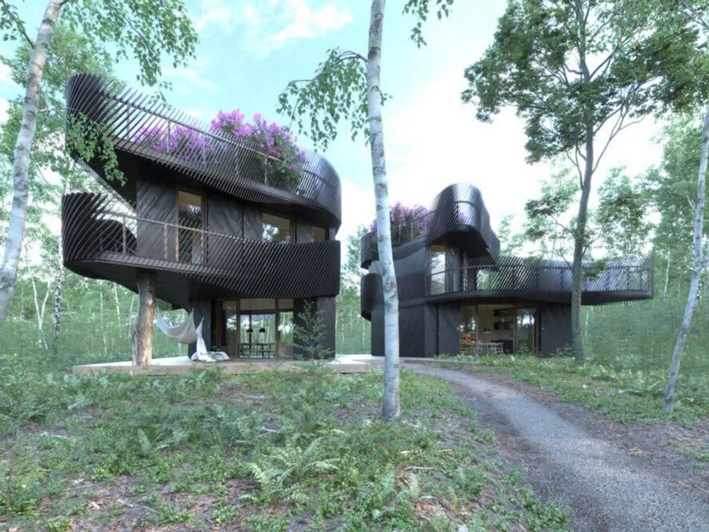 Новый тренд: Модульная система зданий скрытых в растениях