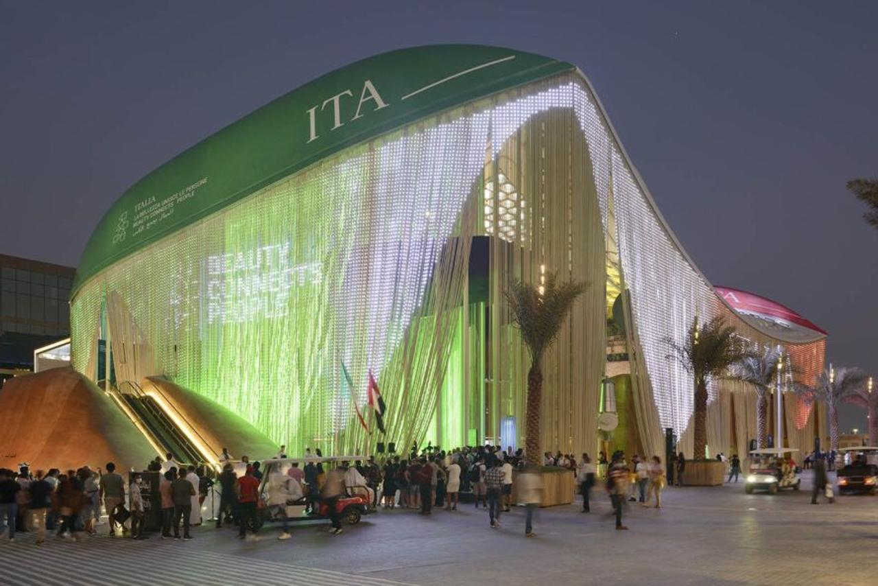 Футуристический итальянский павильон на выставке Expo 2020 Dubai создан из кофейной гущи, апельсиновых корок и переработанных бутылок