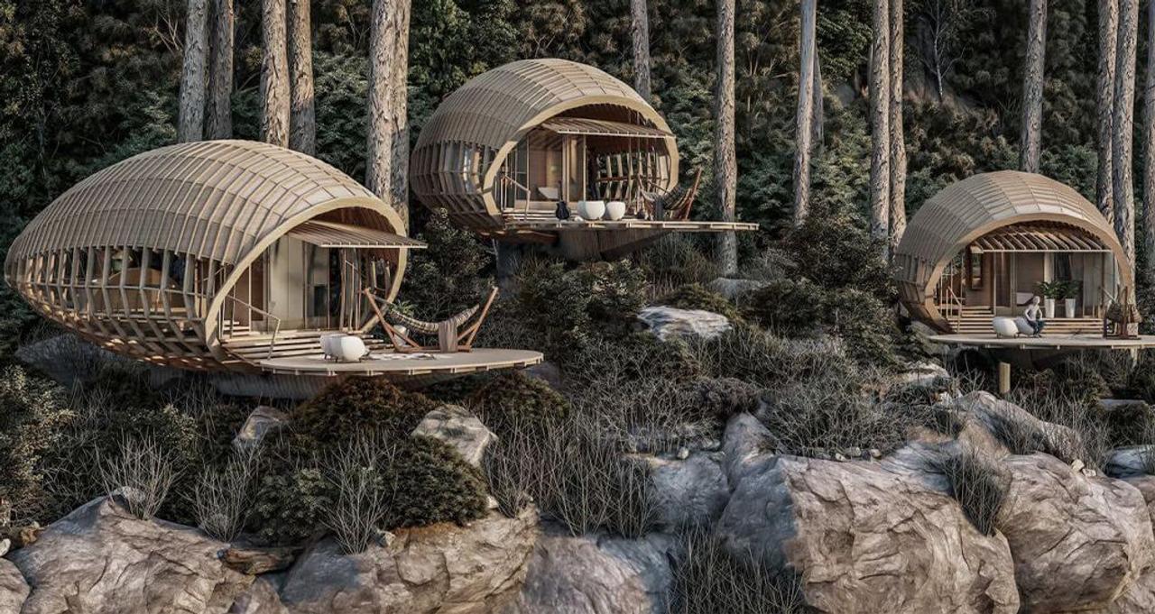 Дизайнерские коконы - хижины, висят на краю Кубинских гор