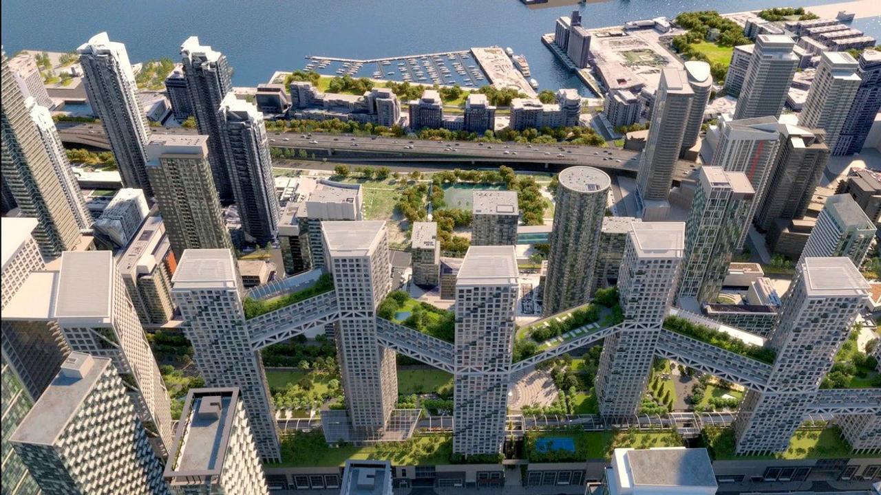 В Канаде построят жилой мега-комплекс, состоящий из девяти жилых башен связанных небесными мостами