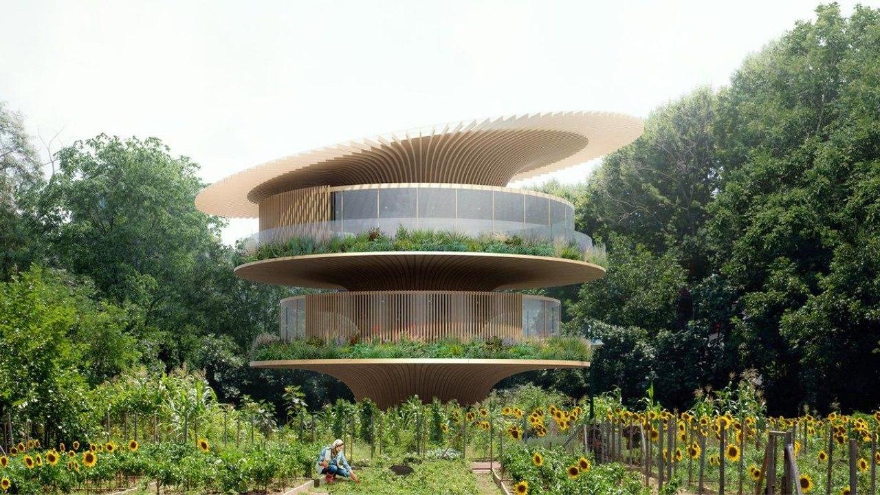 Для Италии разработали проект круглого дома Sunflower house с крышей, которая вращается за солнцем