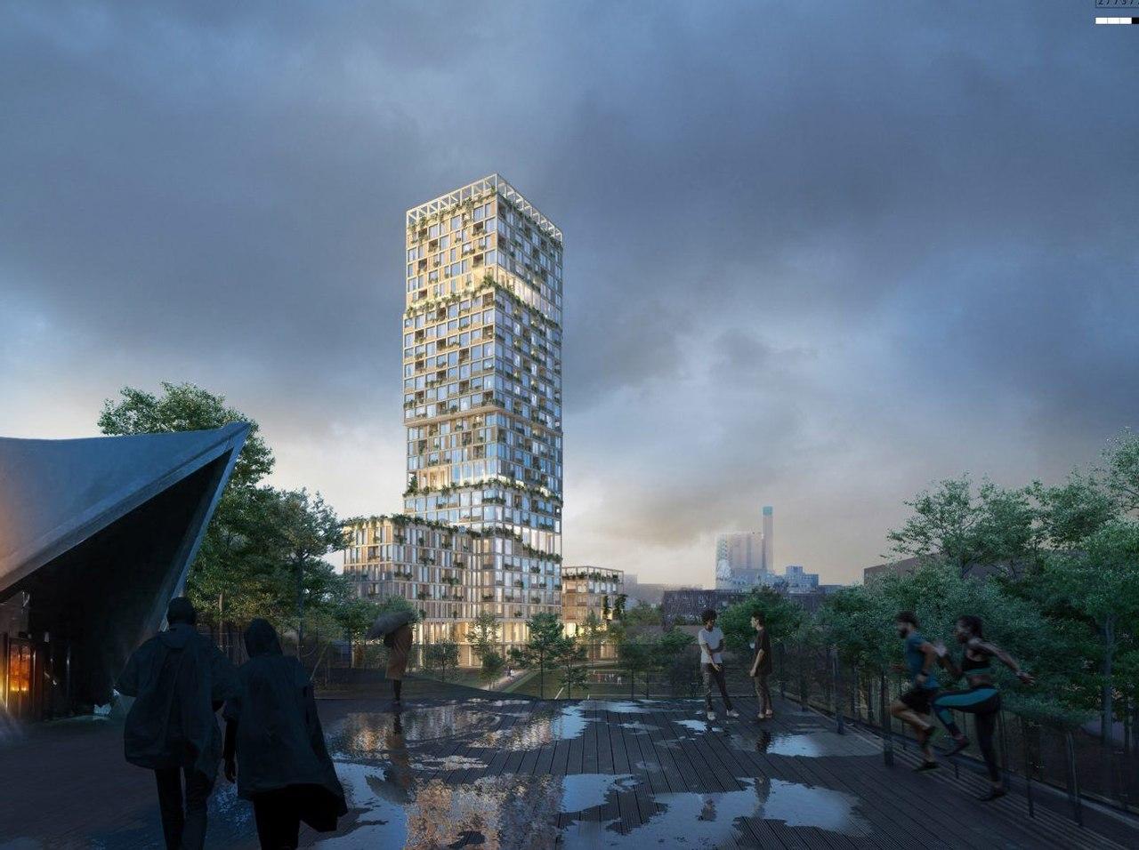 В Берлине построят, первый в Германии и самый высокий в мире, деревянный небоскреб WoHo высотой 98 м с садом на крыше