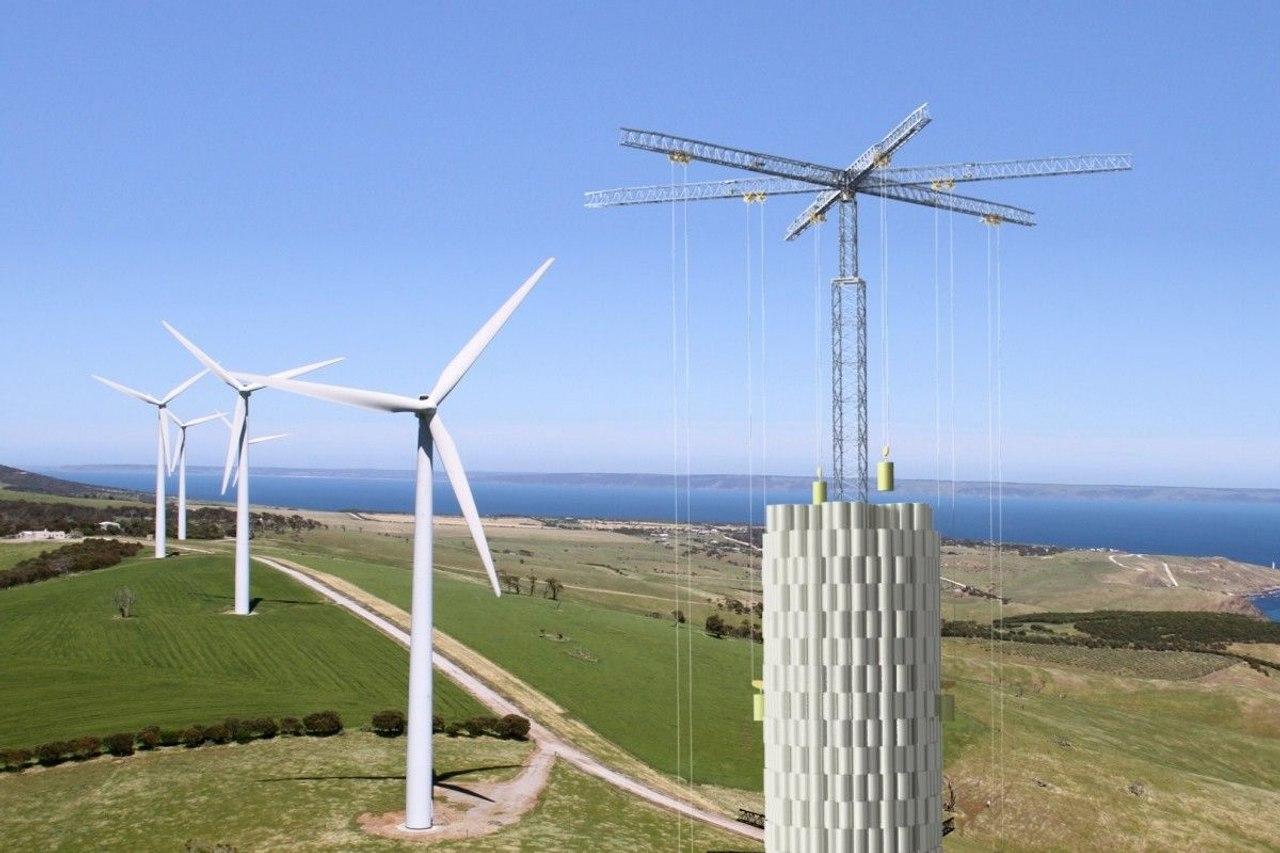 Energy Vault запустила систему хранения энергии, в которой используются бетонные блоки, уложенные в башню