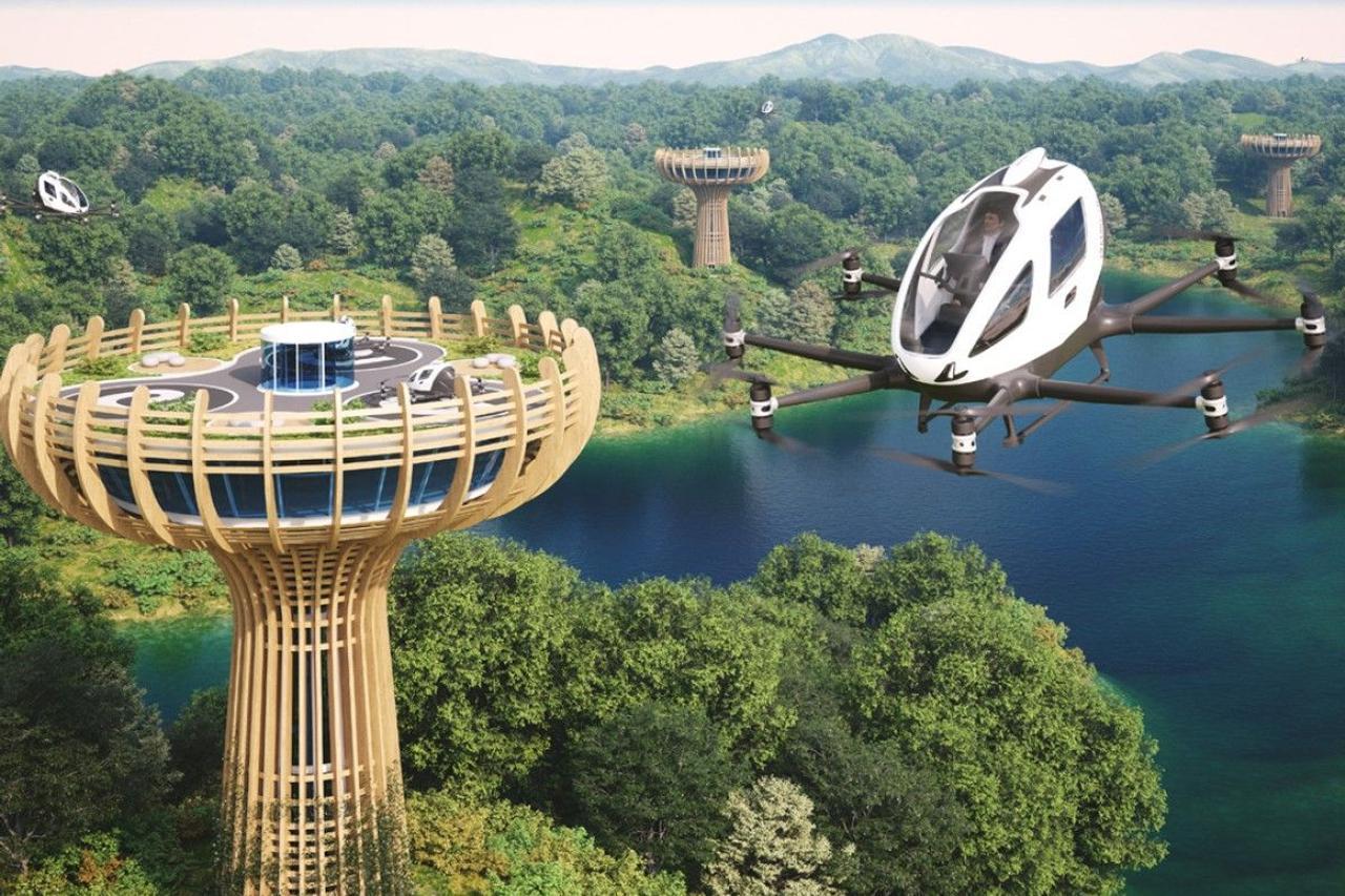 EHang планирует строительство в Италии вертипорта для «воздушных такси», в форме дерева