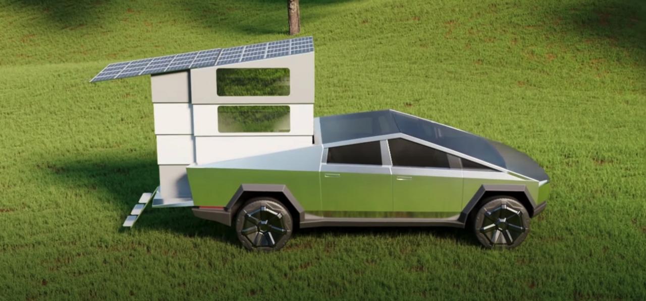 Телескопический, раскладной кемпер, размещенный в багажнике, превращает Tesla Cybertruck в удобный дом на колесах