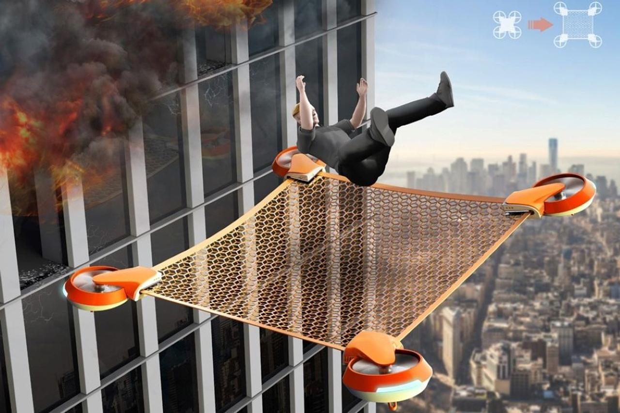 Дрон - спасатель Net Drone предназначен для спасения людей во время пожаров с высотных зданий