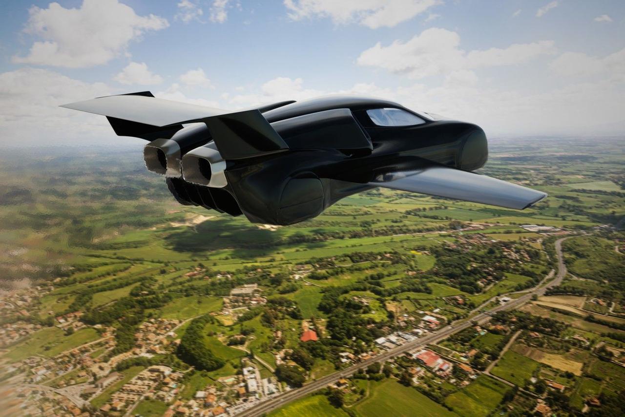 Летающий реактивный автомобиль Firenze Lanciare может мчаться по трассе, а затем взлетать в небо