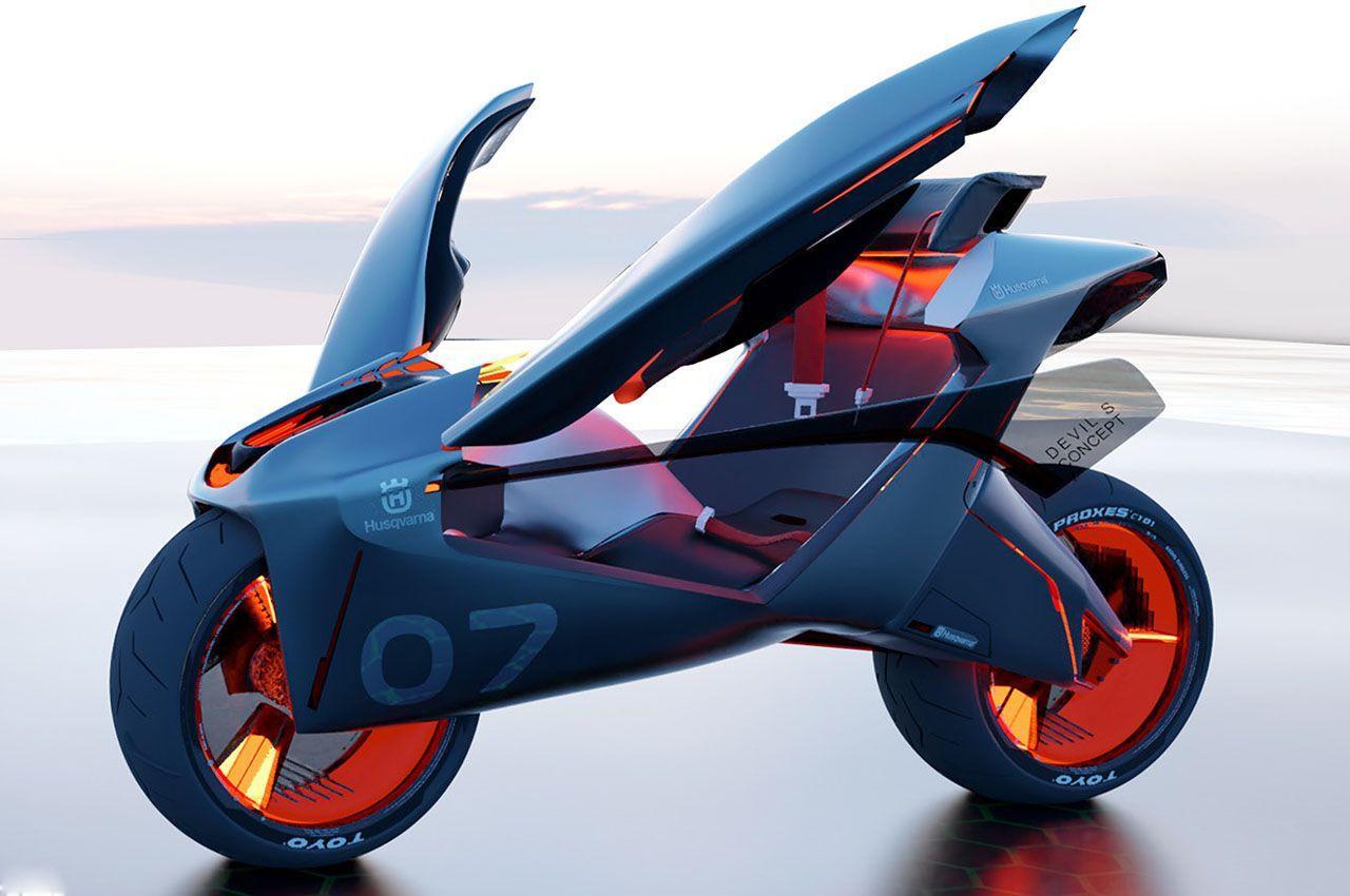 Мотоцикл с крыльями Husqvarna, дизайнера Haochen Wei, вдохновлен светлячками