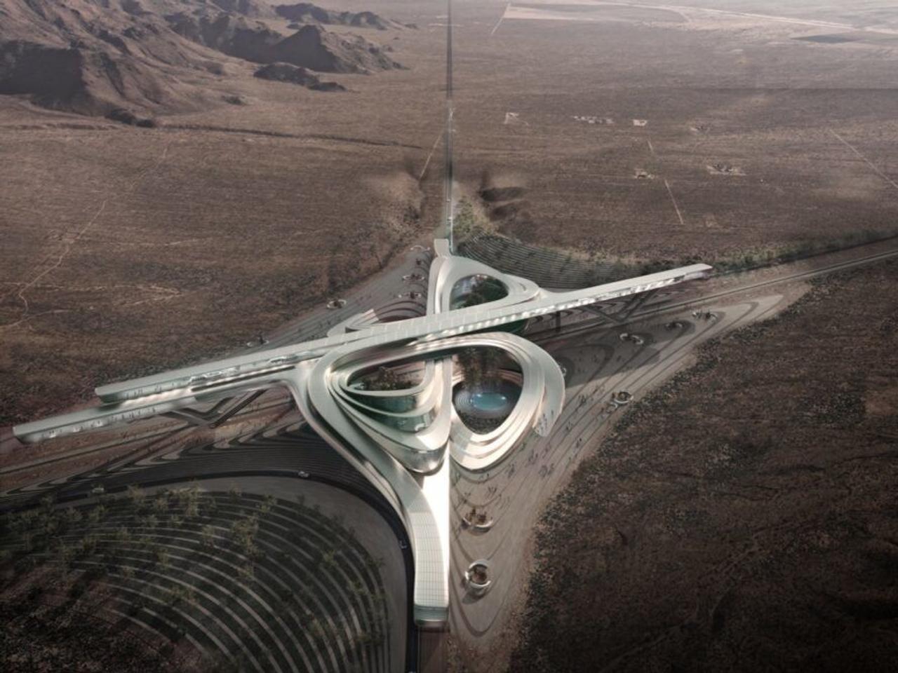 Кампус Hyperloop в пустыне Мохаве представляет собой футуристический оазис на солнечной энергии