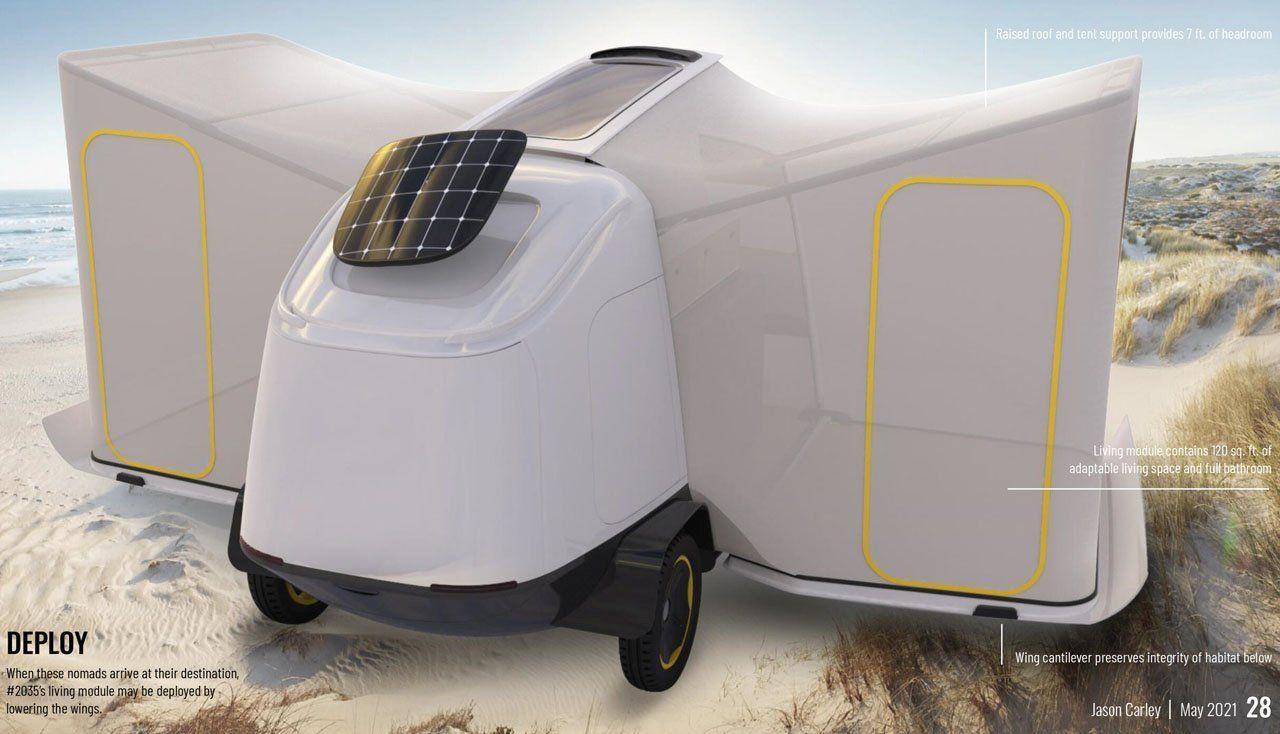 Буксируемый прицеп RV2035 на солнечных батареях поможет уединиться на природе и избавиться от городской суеты
