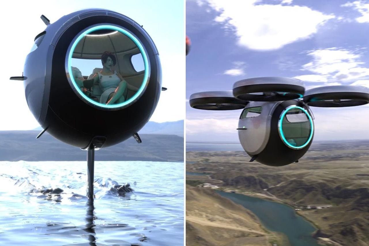 Сверхлегкая сфера из углеродного волокна может летать, плавать и перемещаться по суше