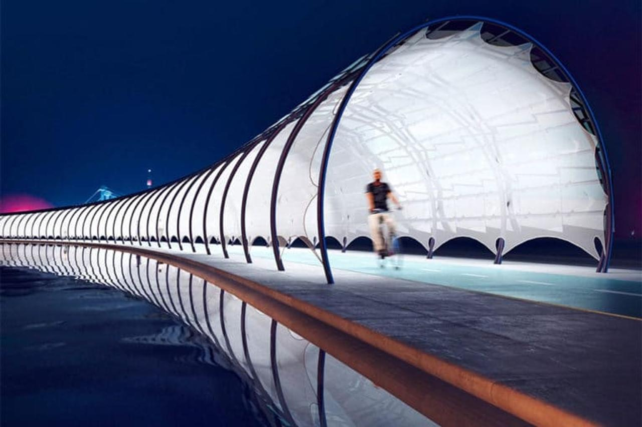 Solar Veloroute, велосипедная дорожка - туннель, генерирует энергию для зарядных станций