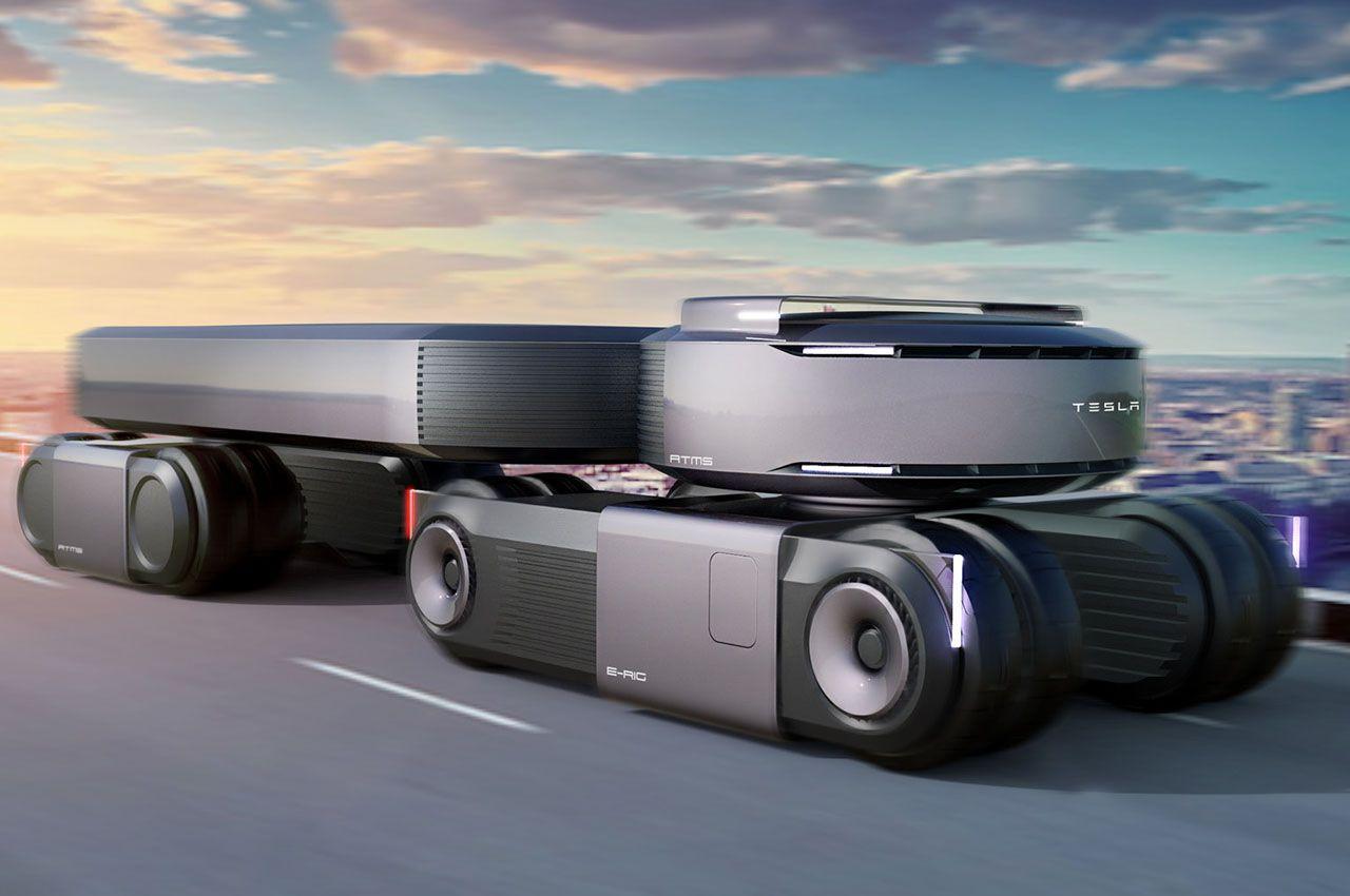 Транспортный дизайнер Джереми Додд предложил концепт автономного грузовика Tesla Autonomous E-Rig