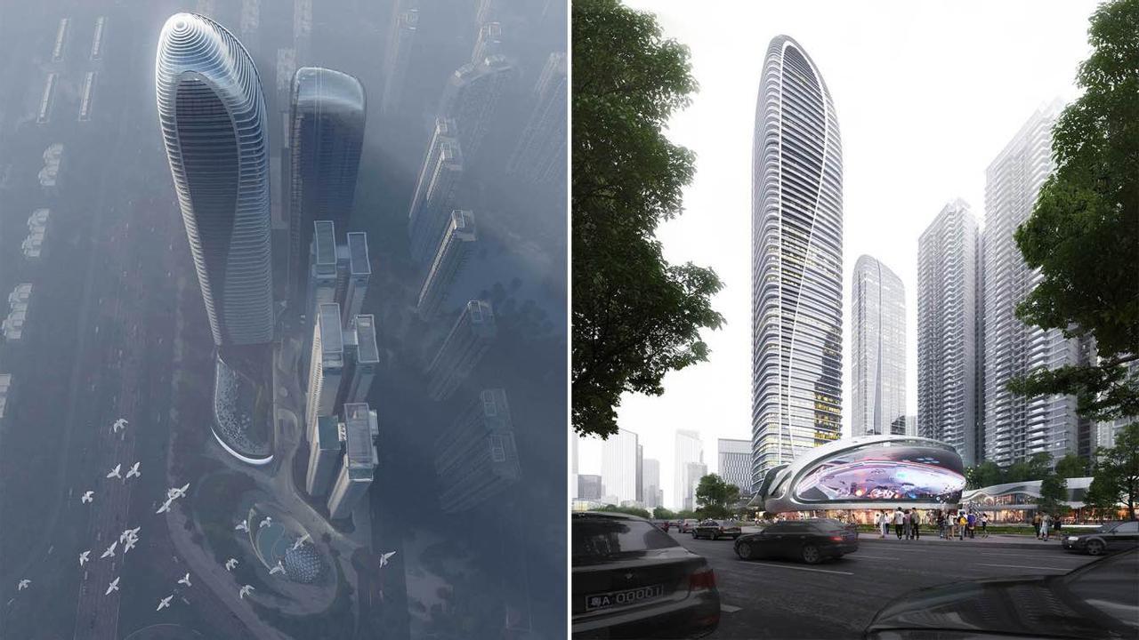 Дизайн китайского футуристического небоскреба Zhanjiang Yunhai No.1 вдохновлен рыбой кои