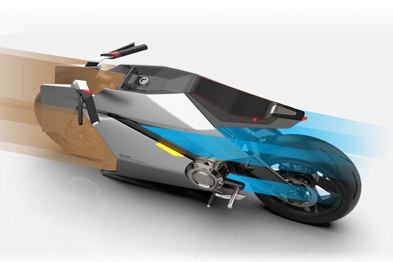 Электрический мотоцикл Aether очищает воздух во время движения