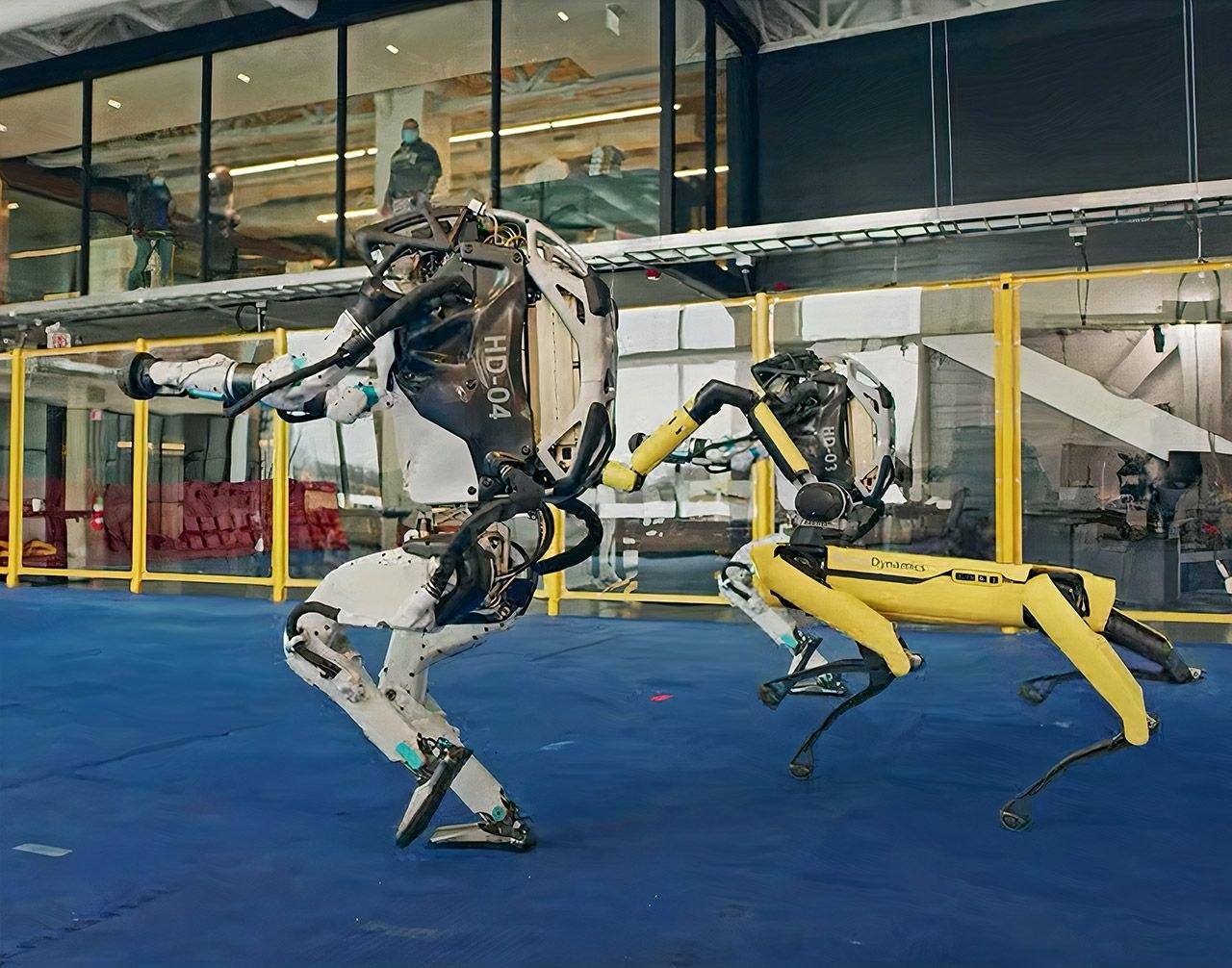 Танцевальный поединок роботов гуманоидов и робота-собаки от Boston Dynamics