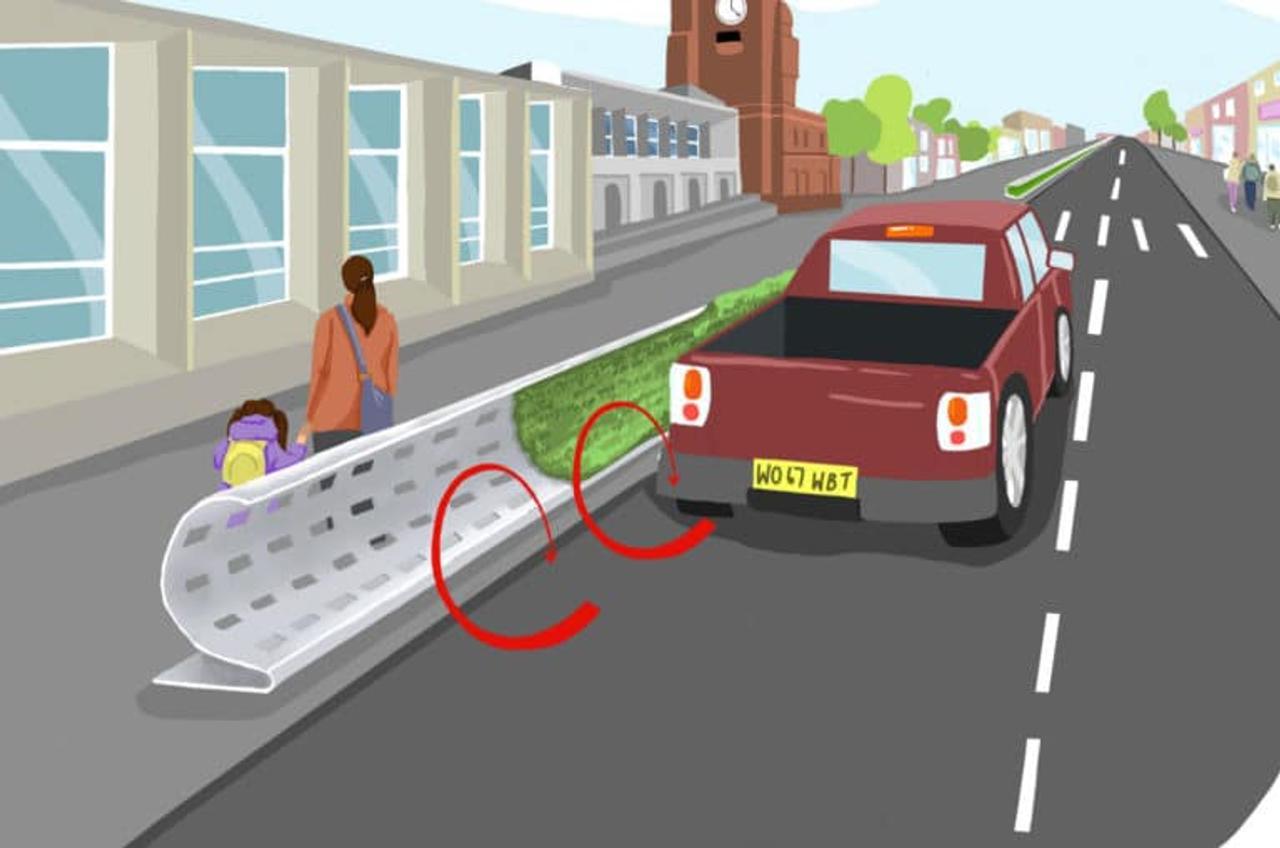 Изогнутая конструкция дорожного ограждения снизит воздействие на людей загрязненного автомобилями воздуха