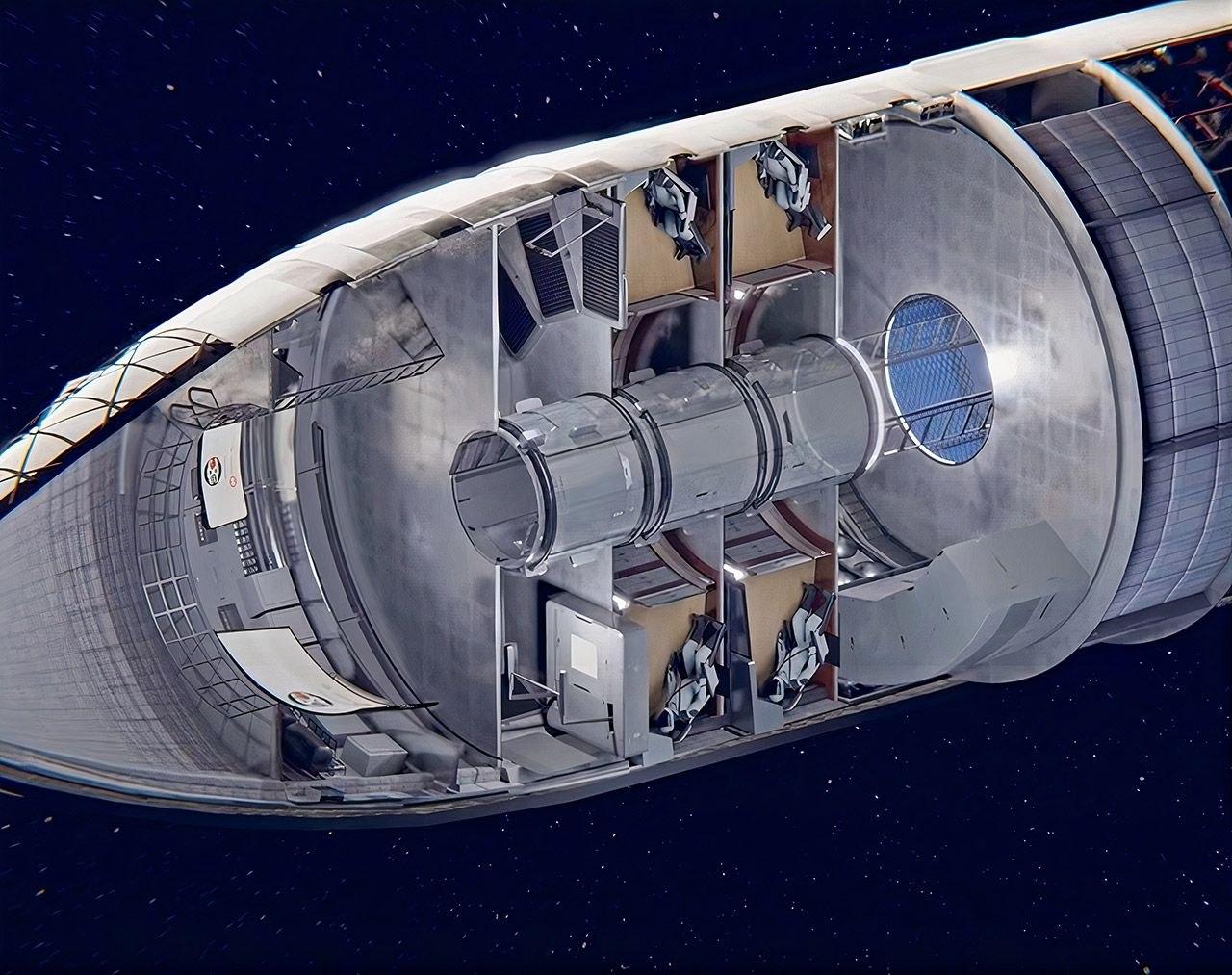 Концепция интерьера космического корабля Starship для полетов на Луну