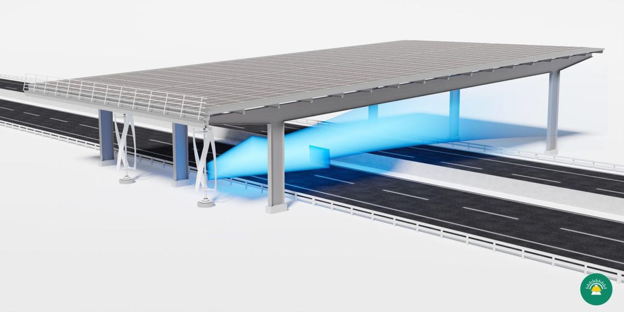 Концепция гибридных ветряных и солнечных электростанций для размещения над автомагистралями
