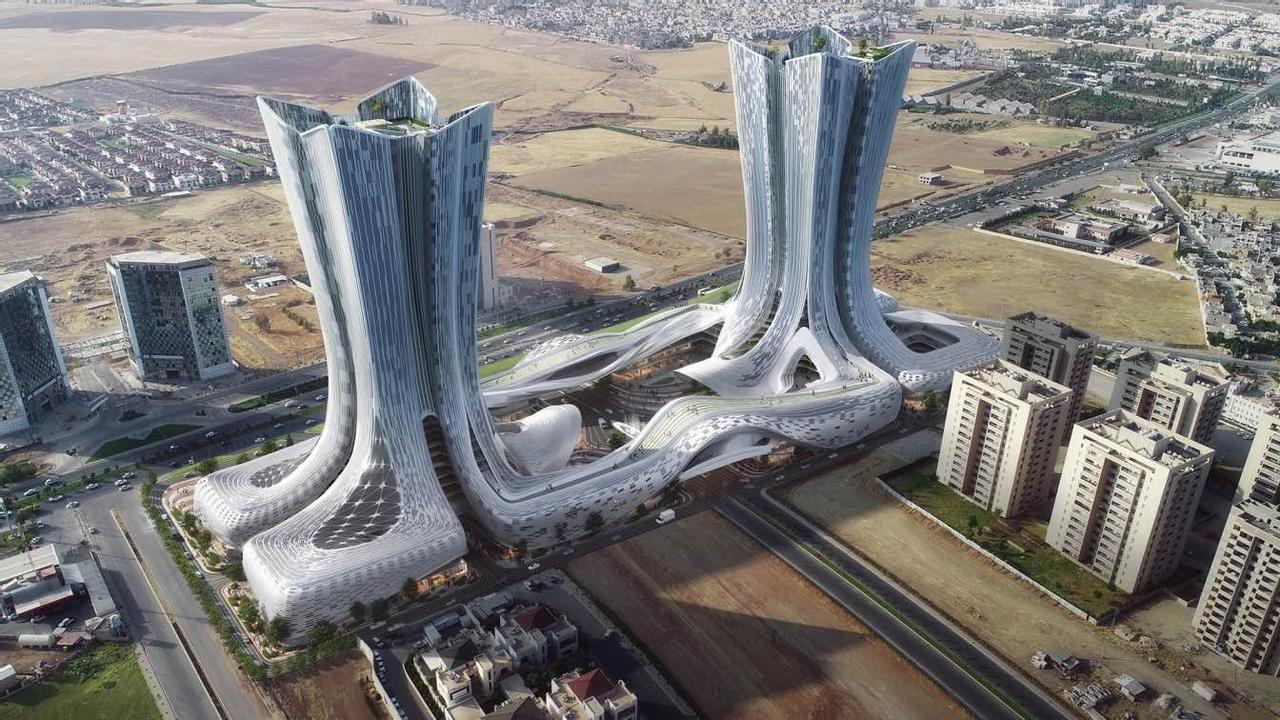 Башни-близнецы в форме пламени Future City Towers, откроют вход в город будущего в Ираке