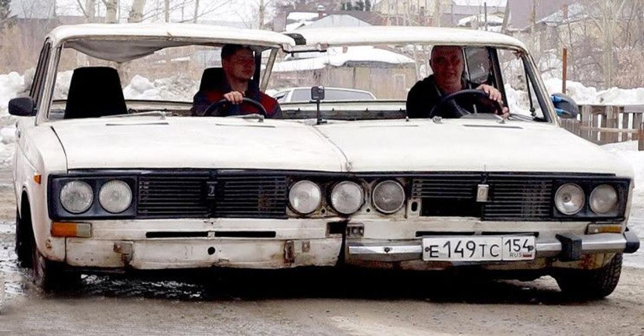Русские «умельцы» превратили две машины LADA в один широкофюзеляжный автомобиль