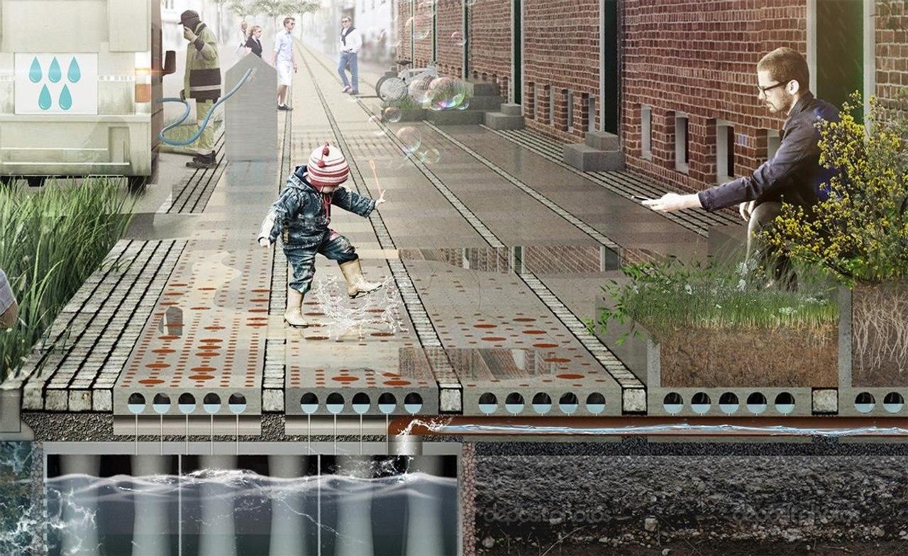 В Дании разработали тротуарную плитку для сбора и повторного использования дождевой воды