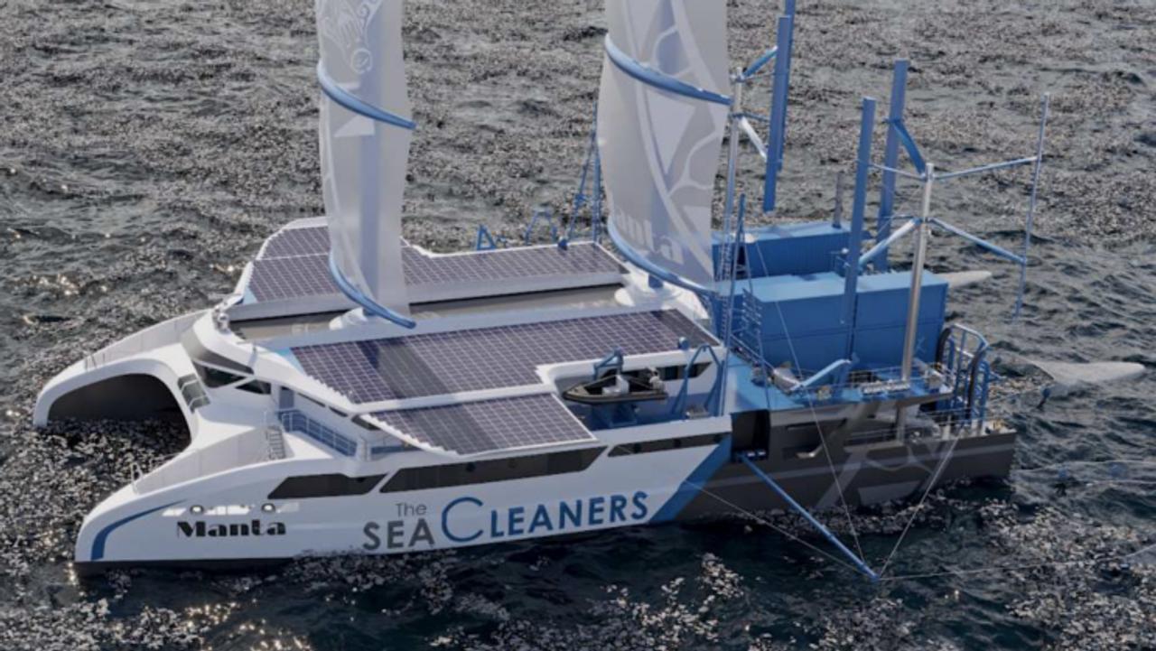Катамаран Manta приводится в движение за счет переработки пластикового мусора в топливо, выловленного в океане
