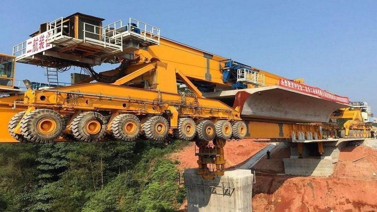 Как строят мосты в Китае: В видео показано как работает 580-тонный мостостроитель «Железный монстр»