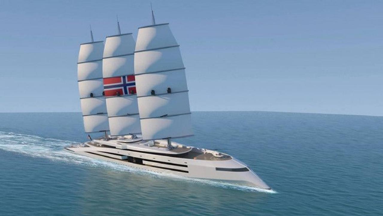 Экологическая суперяхта «Норвегия» будет путешествовать без вредных выбросов благодаря парусам улавливающим энергию