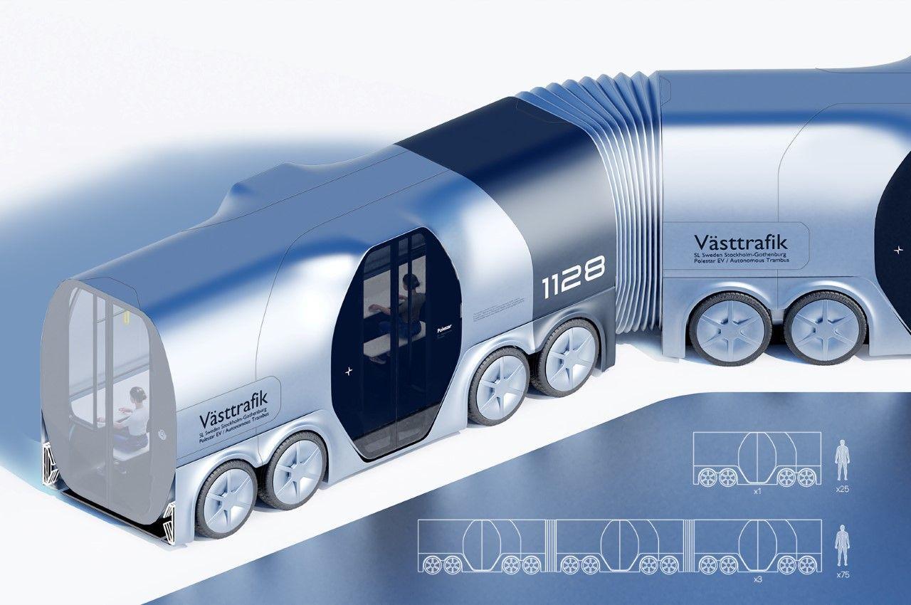 Polestar Trambus - гибрид автомобильного и железнодорожного транспорта, сделает общественный транспорт модульным