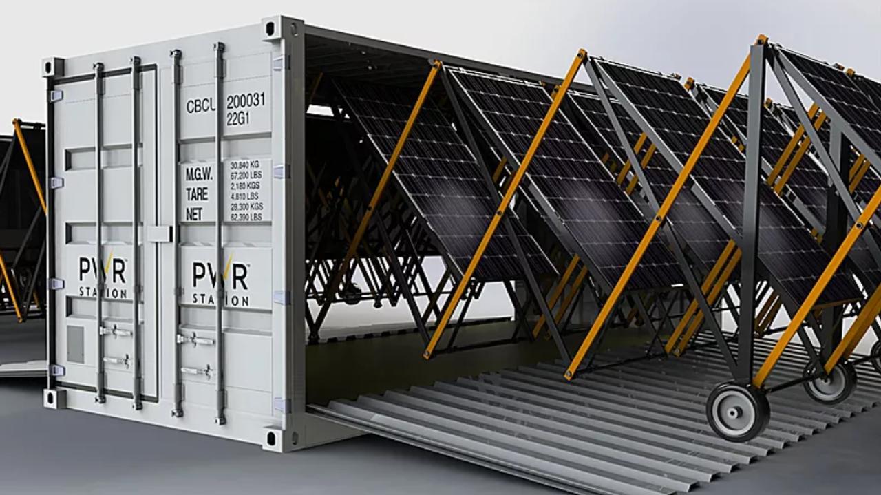 Контейнерная выдвижная солнечная станция для быстрого развертывания