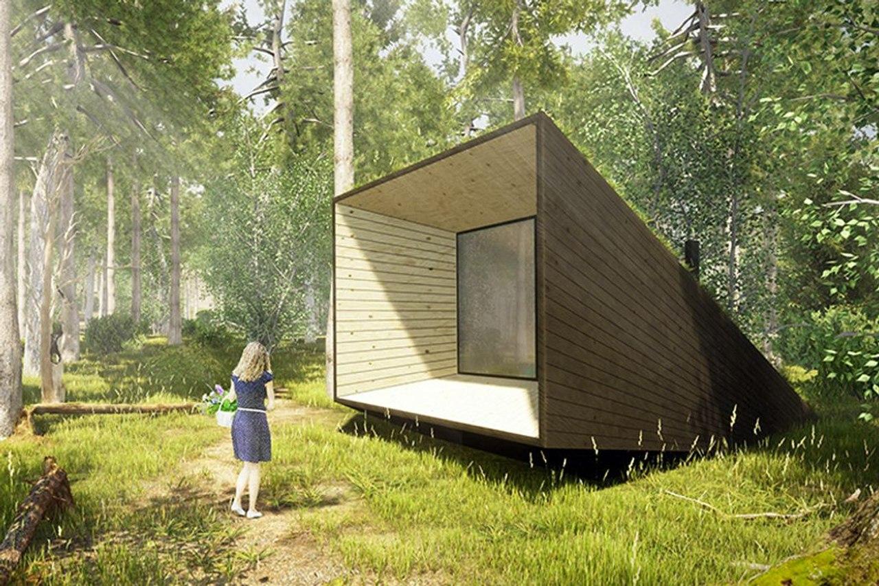 Хижина в лесу в форме мегафона усиливает звуки леса и принесет вам душевный покой