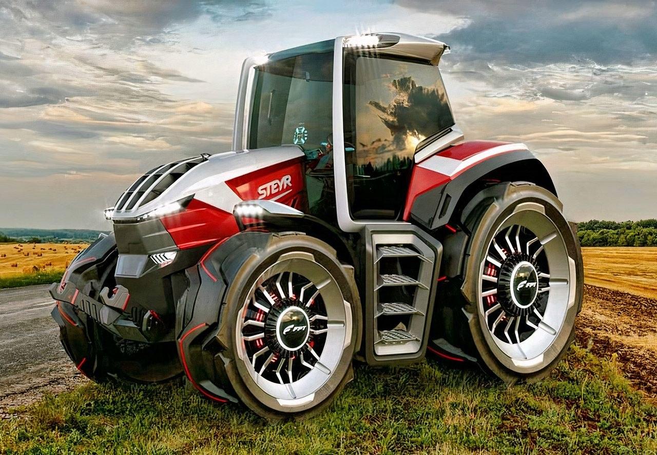 Гибридный трактор будущего STEYR Konzept с пятью электродвигателями и дроном