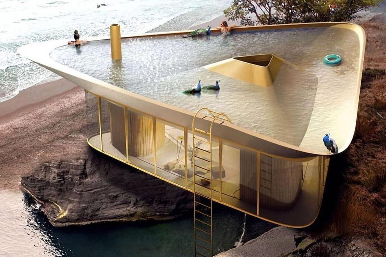 Оригинальная концепция домика с бассейном на крыше