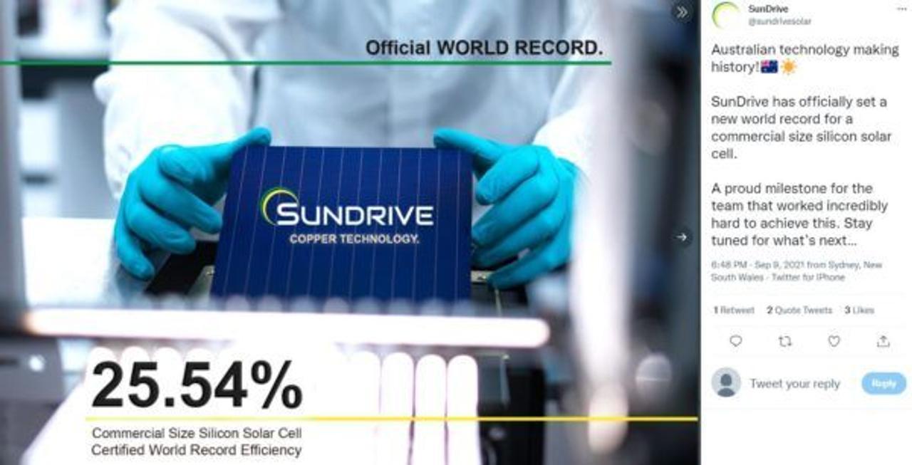 Стартап SunDrive разработал солнечные фотоэлементы без серебра и установил новый рекорд эффективности в 25,54%