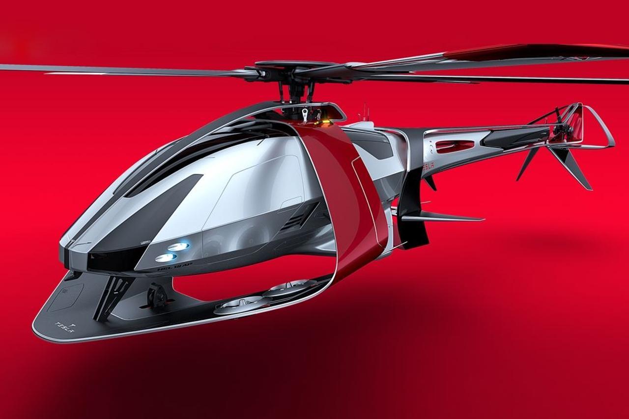 Концепт электрического вертолета будущеего от Tesla, выглядит футуристично!
