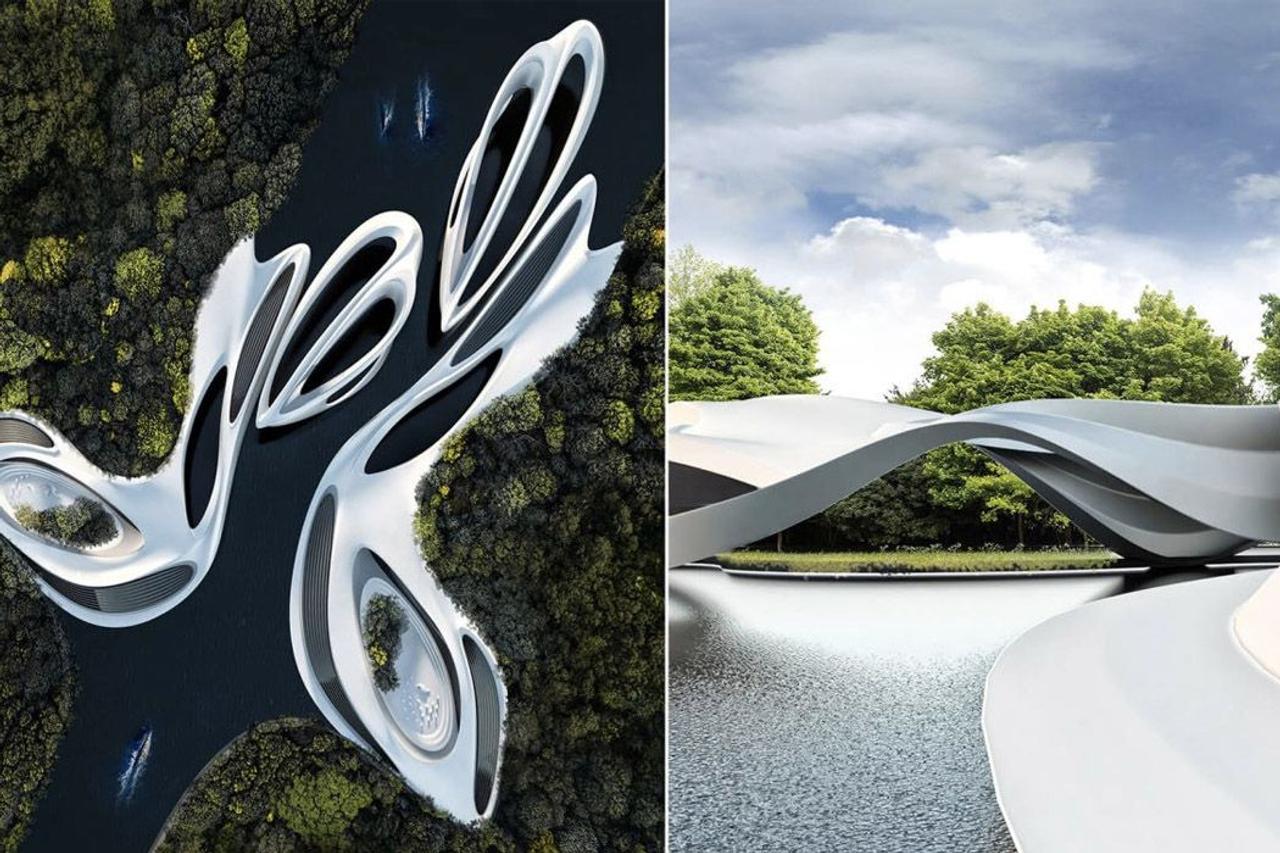 Футуристический курорт в стиле плавучих яхт, будущее роскошной архитектуры